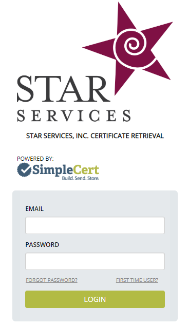 Image of the SimpleCert login portal