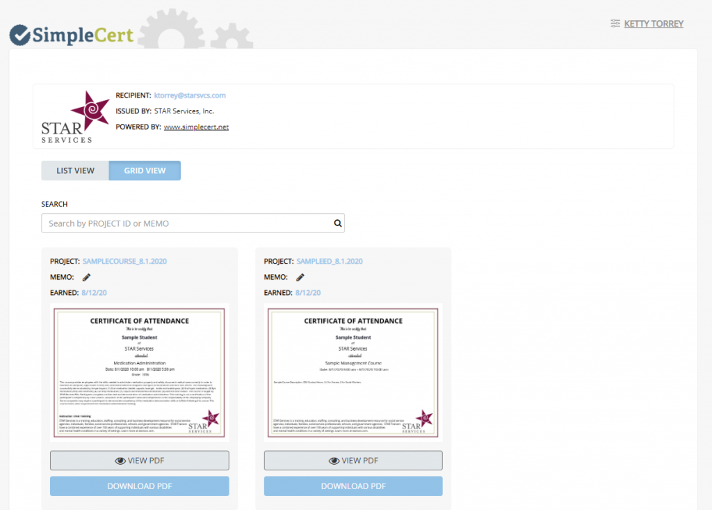 Image of the SimpleCert Portal
